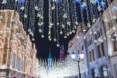 圣诞节和新年装饰在莫斯科 图库摄影