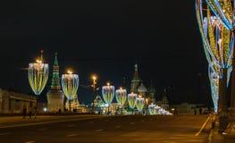 圣诞节和新年装饰在莫斯科 免版税图库摄影