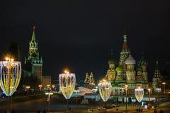 圣诞节和新年装饰在莫斯科 免版税库存照片