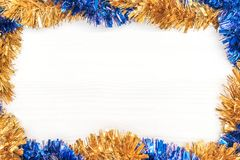 圣诞节和新年装饰由与新年装饰品的壁角框架制成 图库摄影