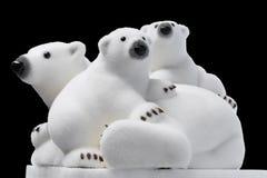 圣诞节和新年装饰:白色极性b的小雕象 免版税图库摄影