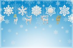 圣诞节和新年装饰:雪花和驯鹿 免版税库存图片