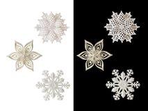 圣诞节和新年装饰:雪花的小雕象 是 免版税库存图片