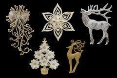 圣诞节和新年装饰:雪花, fl的小雕象 免版税库存图片