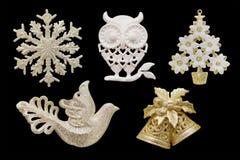 圣诞节和新年装饰:雪花, ow的小雕象 免版税库存图片