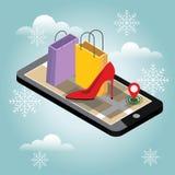 圣诞节和新年购物 网上冬天购物和电子商务概念 鞋子和高跟鞋 礼品 库存图片