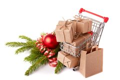 圣诞节和新年购物 库存照片