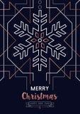 圣诞节和新年铜概述雪卡片 向量例证