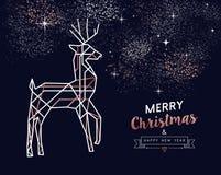 圣诞节和新年铜概述鹿卡片 库存例证