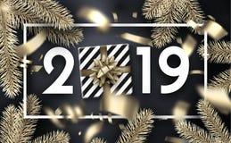 圣诞节和新年2019年与礼物,冷杉branche的贺卡 向量例证
