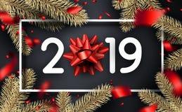 圣诞节和新年2019年与红色弓,冷杉麸皮的贺卡 皇族释放例证