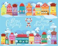 圣诞节和新年与小神仙的假日卡片 免版税库存图片