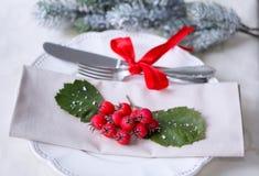 圣诞节和新年假日表设置 庆祝 圣诞晚餐的餐位餐具 被点燃的背景电灯泡色的装饰诗歌选节假日光 装饰 免版税库存照片