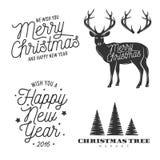 圣诞节和新年关系了设计元素集 图库摄影