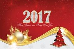 圣诞节和新年贺卡2017年 免版税库存图片