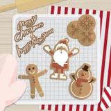 圣诞节和新年厨房烘烤曲奇饼 免版税库存照片