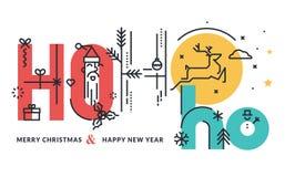圣诞节和新年平的线设计观念 免版税库存照片