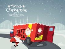 圣诞节和新年庆祝的礼物卡车 向量例证