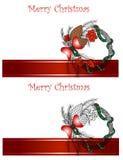 圣诞节和新年度向量贺卡 库存图片