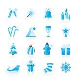 圣诞节和新年度图标 库存图片