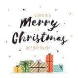 圣诞节和新年快乐的贺卡 库存照片