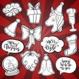 圣诞节和新年时尚补丁徽章 免版税库存照片
