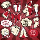 圣诞节和新年时尚补丁徽章 库存照片