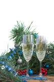 圣诞节和新年构成,平原,杉木,装饰品 库存照片