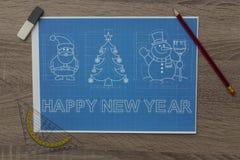 圣诞节和新年标志图纸 免版税库存图片