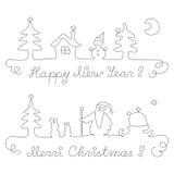 圣诞节和新年-界线 库存例证