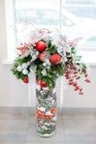 圣诞节和新年的花构成 免版税库存图片
