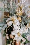 圣诞节和新年的花构成 免版税库存照片