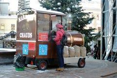圣诞节和新年装饰在莫斯科市中心 免版税库存图片
