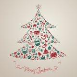 圣诞节和新年装饰当前装饰和对象集成电路 免版税库存照片