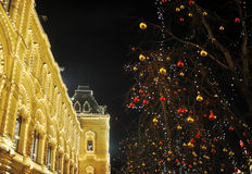 圣诞节和新年装饰的夜视图 免版税库存照片