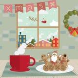 圣诞节咖啡休息和曲奇饼在屋子窗口里 免版税库存图片