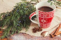 圣诞节咖啡用桂香 免版税库存图片