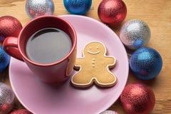 圣诞节咖啡用饼干 免版税库存照片