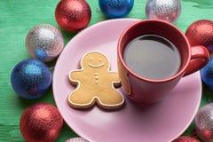 圣诞节咖啡用饼干 库存照片