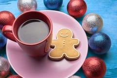 圣诞节咖啡用饼干 库存图片