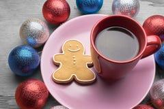 圣诞节咖啡用饼干 图库摄影