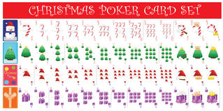 圣诞节啤牌卡片全套 库存图片