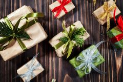 圣诞节嘲笑的礼物盒汇集模板设计 在视图之上 平的位置 图库摄影