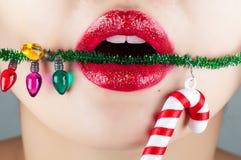圣诞节嘴唇 免版税库存图片