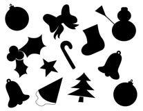 圣诞节图标剪影向量 免版税图库摄影