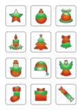 圣诞节图标集合白色 免版税库存照片