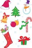 圣诞节图标集 库存例证