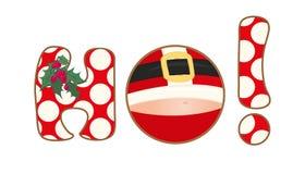 圣诞节图标 Ho ho ho在白色背景设置的标志 克劳斯快活的圣诞老人 免版税库存照片