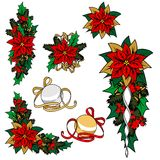 圣诞节图象的汇集 圣诞节装饰,花,装饰品 免版税图库摄影