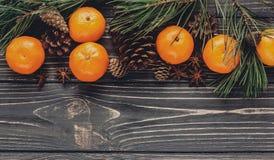 圣诞节图象舱内甲板位置 绿色冷杉分支用蜜桔和 免版税库存图片